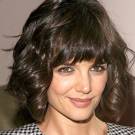 Katie holmes short curly bob hairstyle hairstyles weekly