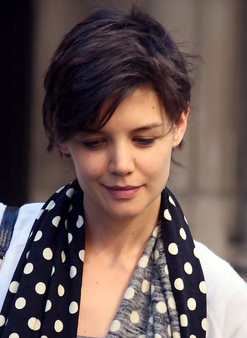 Katie Holmes Short Hairstyle Feminine Pixie Cut With