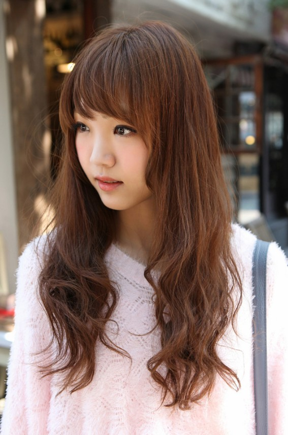 Surprising Cute Korean Hairstyle For Girls Long Brown Hair With Bangs Hairstyle Inspiration Daily Dogsangcom