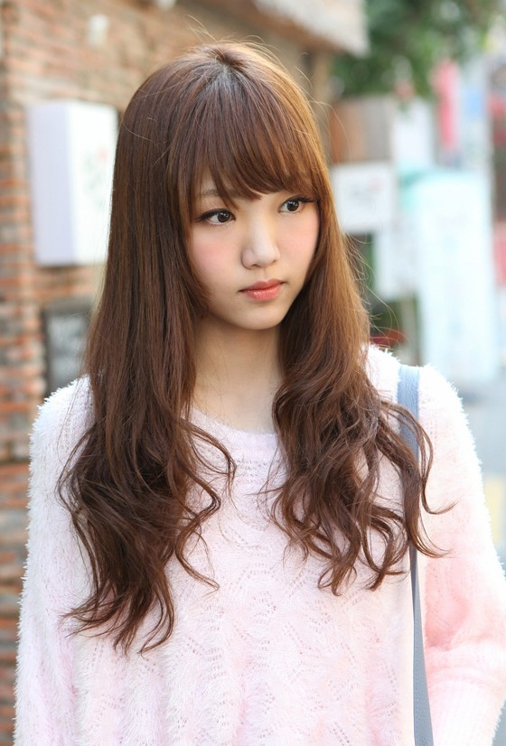 Tremendous Cute Korean Hairstyle For Girls Long Brown Hair With Bangs Short Hairstyles Gunalazisus