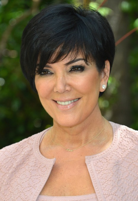 kris jenner short black haircut with side swept bangs - hairstyles