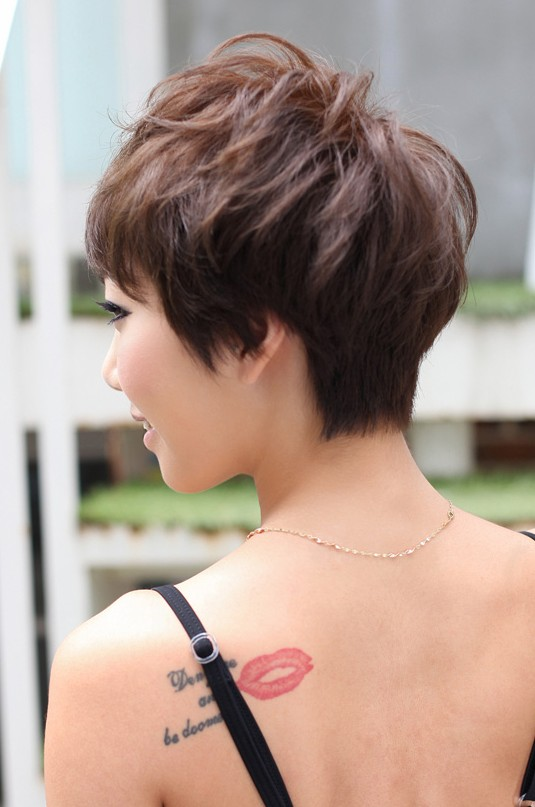 Strange Back View Of Layered Short Pixie Haircut Hairstyles Weekly Short Hairstyles Gunalazisus