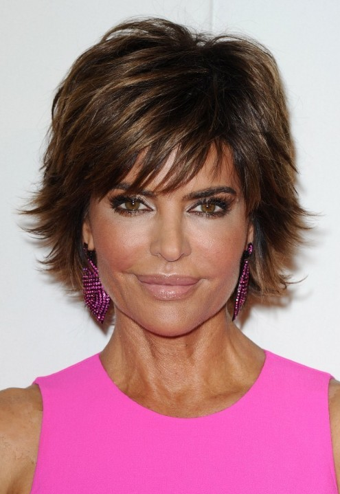 Picture of Lisa Rinna Layered Short Razor Cut with Bangs for women