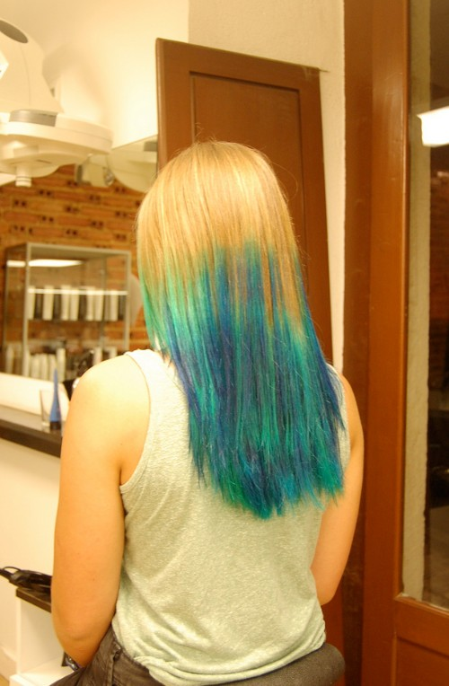 Long Straight Blue Green Hairstyle