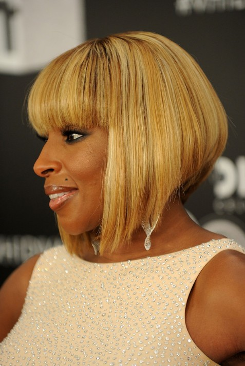 Picture of Mary J. Blige Short Sleek Inverted Bob Hairstyle /Getty