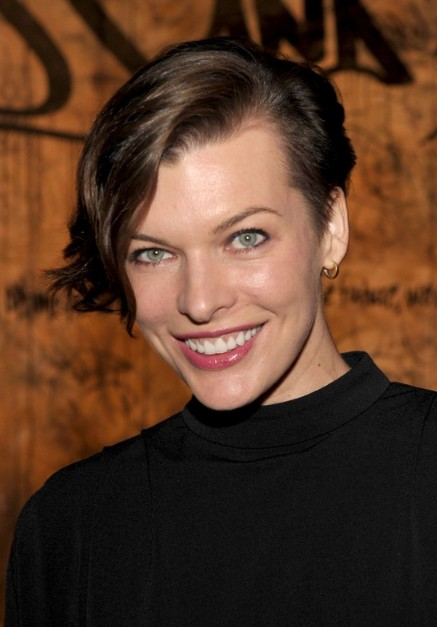 Milla Jovovich Short Asymmetric Hairstyle