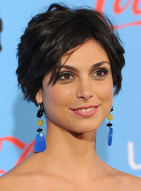 Morena Baccarin Layered Short Black Razor Cut with Bangs 2013