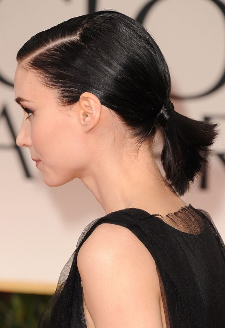 cute ponytail styles short hair top 9 ponytail hairstyles for hair styles at 7987 | Rooney Mara Cute Short Black Ponytail Hairstyle