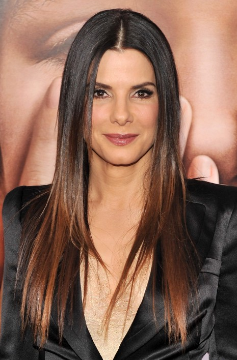 Sandra Bullock Ombre Hair 2013: Sexy long sleek hairstyle for women