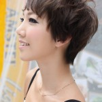 Side view of short pixie cut