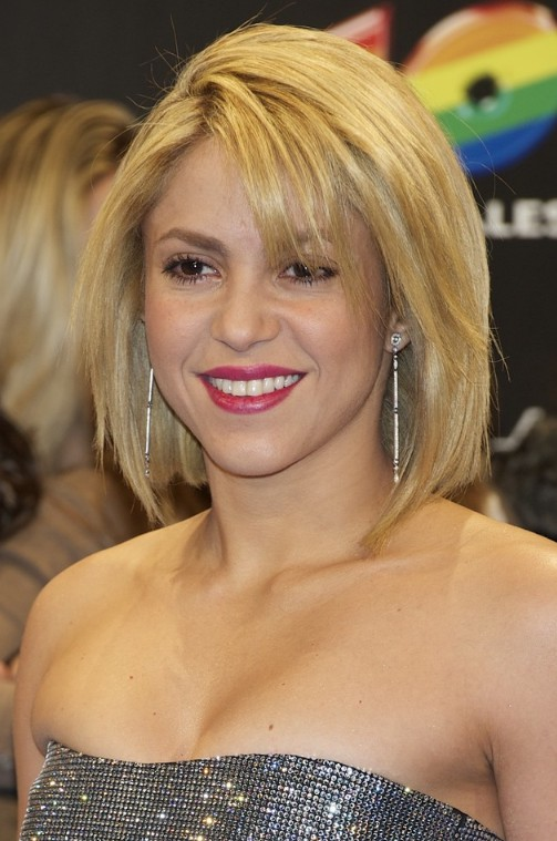 Picture of shakira short blonde bob hairstyle /getty images