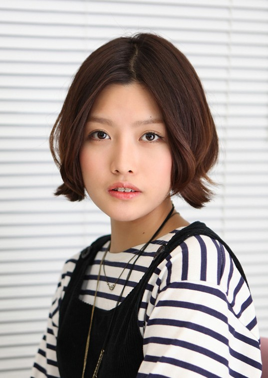 Korean Hairstyle 2013 Pretty Center Parted Bob Haircut -9723