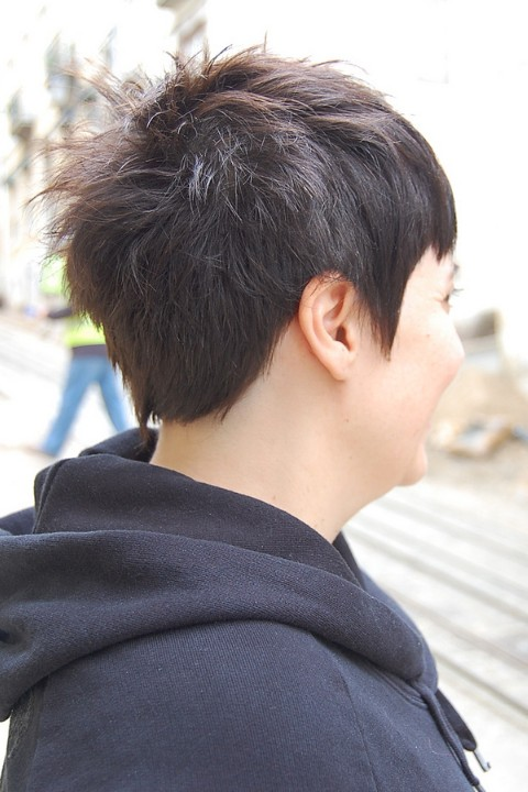 Trendy Short Chic Dark Haircut With Stylish Short Bangs