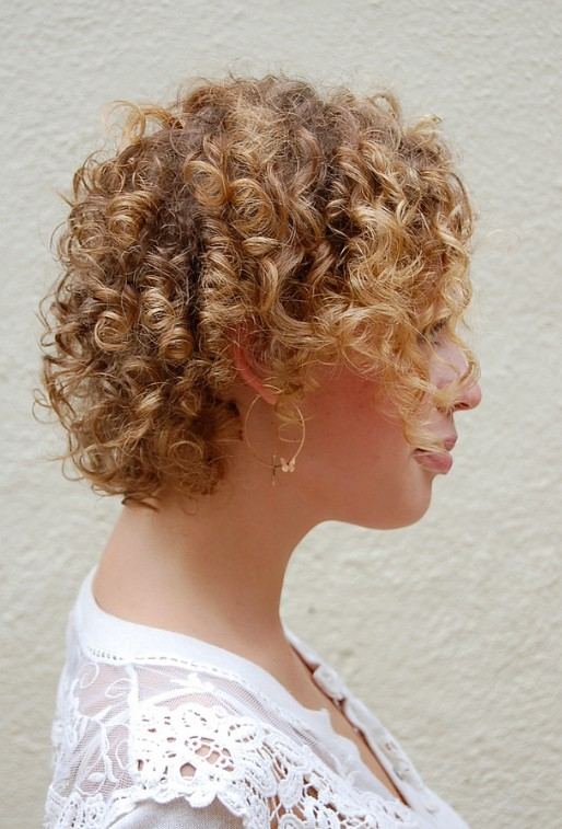 Cute Corkscrew Curls With V Shaped Nape Haircut