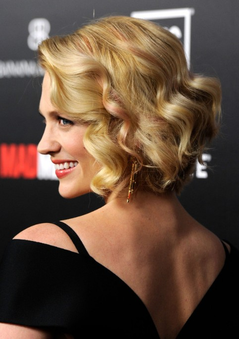 Remarkable January Jones Chic Short Blonde Curly Bob Hairstyle Hairstyles Hairstyle Inspiration Daily Dogsangcom