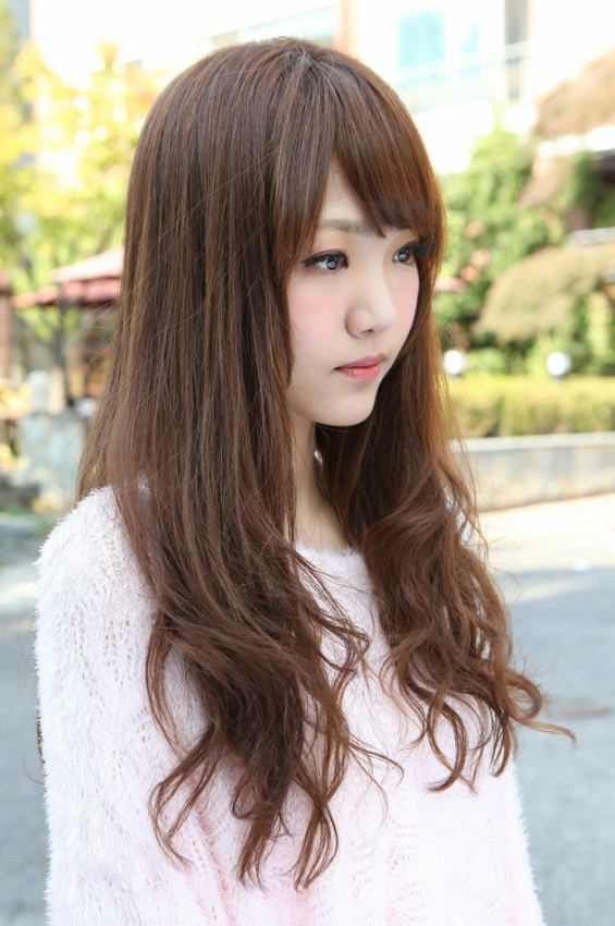 Astonishing Cute Korean Hairstyle For Girls Long Brown Hair With Bangs Hairstyles For Women Draintrainus