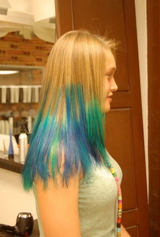 Astonishing Futuristic Blue Green Blend On Blonde Stunning Colour Short Hairstyles Gunalazisus
