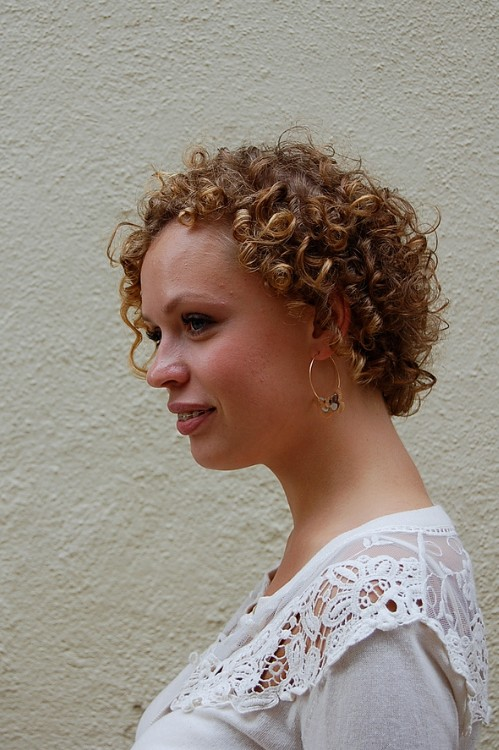 Left Side View of Short Curly Hairstyle