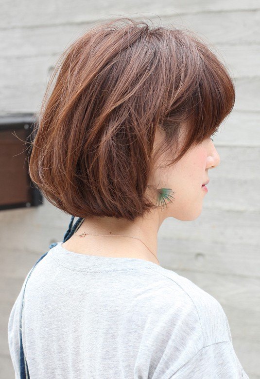Peachy Side View Of Short Messy Bob Hairstyle Hairstyles Weekly Short Hairstyles Gunalazisus