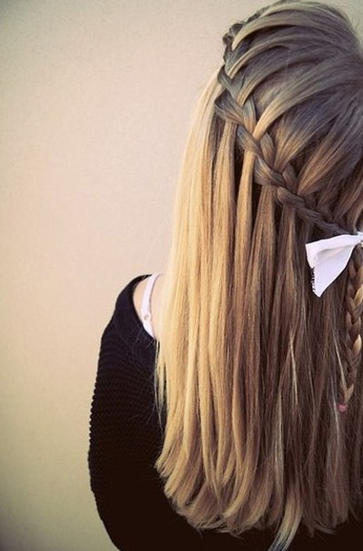 Sleek Waterfall Braid Hairstyle for Girls