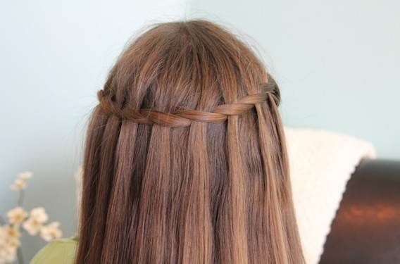 Sleek Waterfall Braid for Long Straight Hair