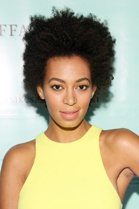Solange Knowles Short Natural Curly Hairstyle