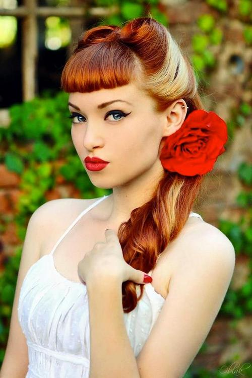 Stylish Retro Hairstyle with Blunt Bangs