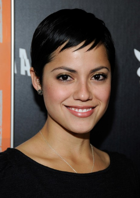 Picture of Sylvia Brindis Short Sleek Black Pixie Cut /Getty Images ...