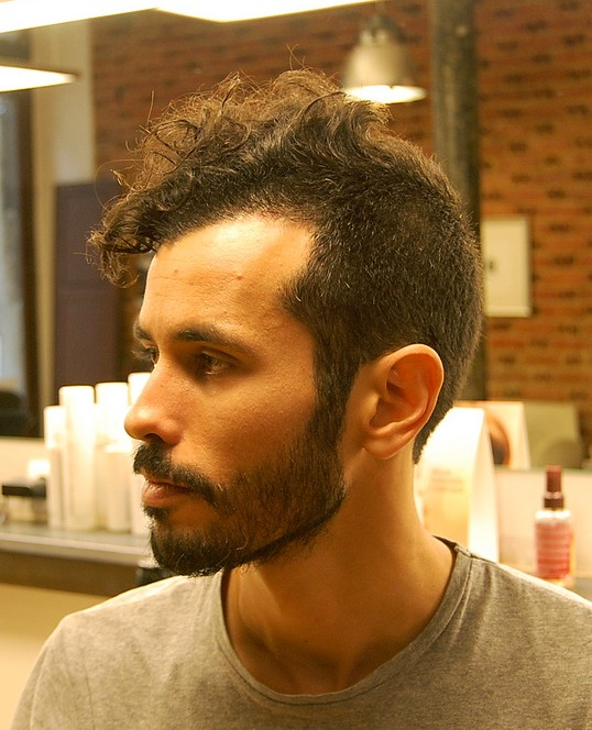 short curly haircut for men long buzz cut with hawk top