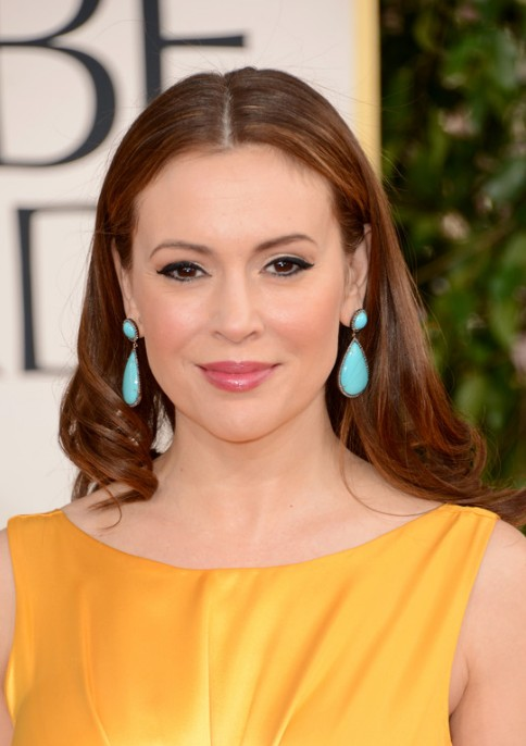 2013 Golden Globe Awards Hairstyles: Alyssa Milano Long Brown Hairstyle
