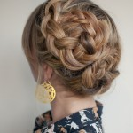 Asymmetrical Double Dutch Braids Updo