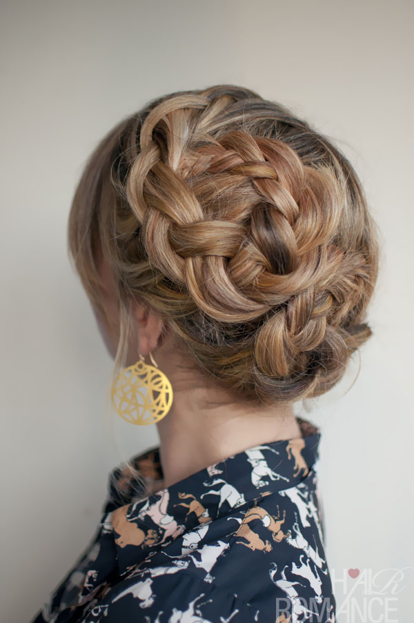 romantic asymmetrical double dutch braids updo - hairstyles weekly