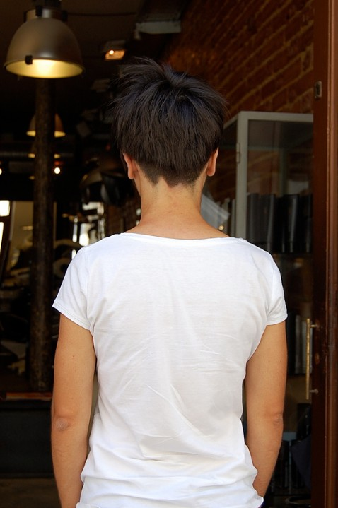 Back View of Boyish Short Cut for Summer
