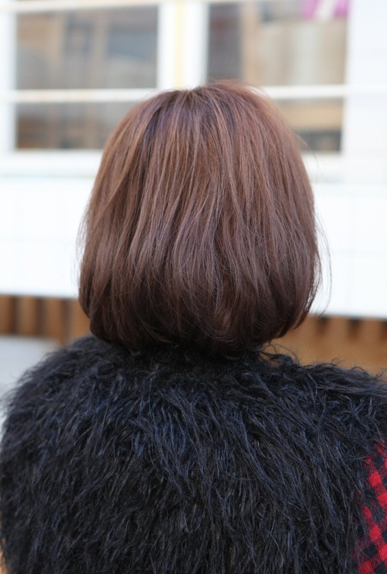 Back View Of Cute Bob With Side Swept Bangs Hairstyles