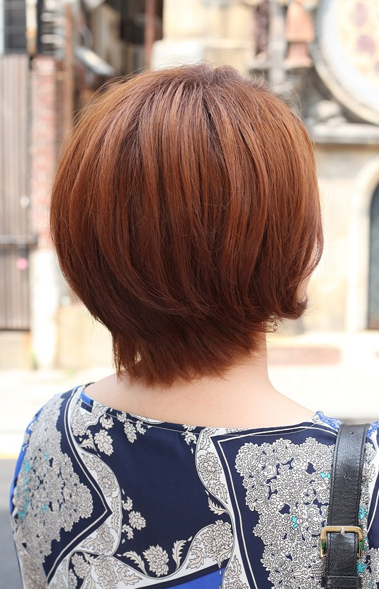 Back View Of Short Auburn Bob Hairstyle