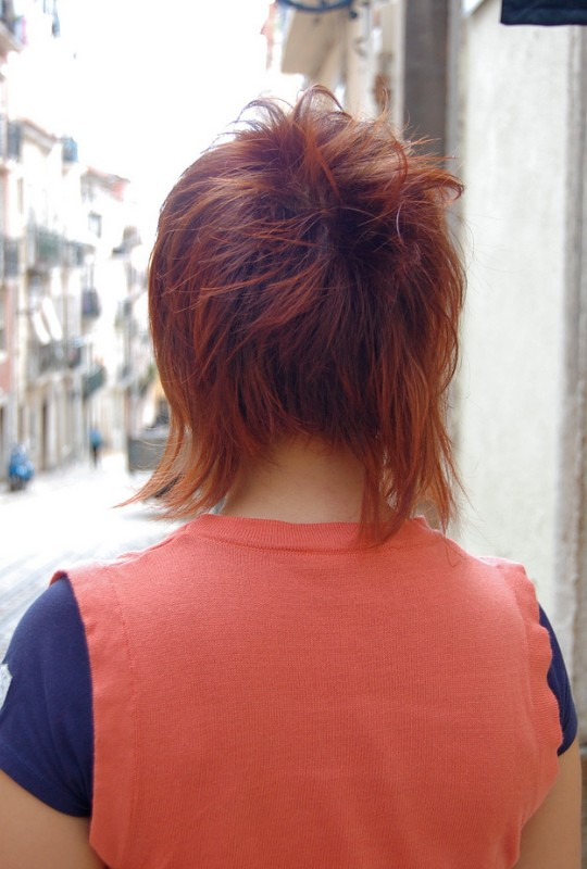 Hair Color Trends Read Head Side View of Red Shaggy Hairstyle Back