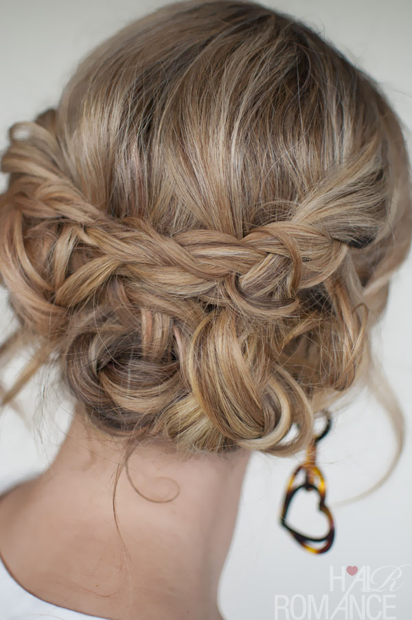 Casual Messy Braided Updo The Best Braided Updos For Parties Hairstyles Weekly