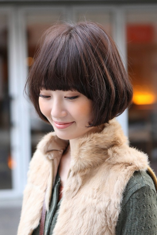 Cute Asian Bob Hairstyle With Blunt Bangs Hairstyles Weekly