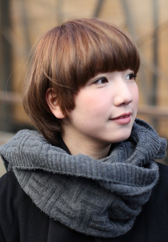 Cute Mushroom Bob Haircut for Girls - Trendy Asian Hairstyles 2013