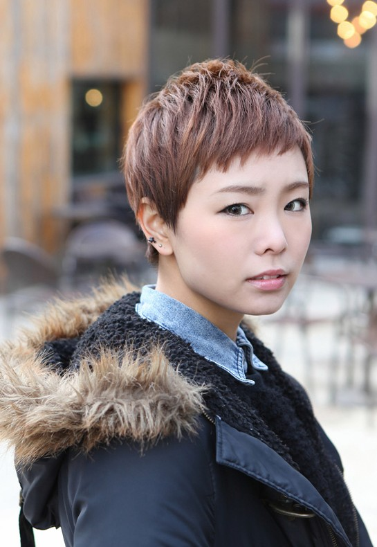 Cute Short Layered Boyish Hairstyle - Asian Brown Short Haircut