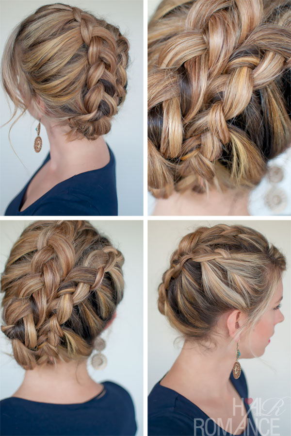 Diagonal Double Dutch Braids - Elegant Braided Updo for Summer