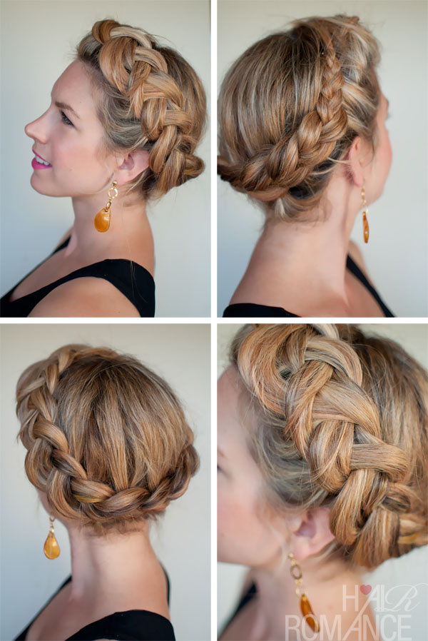 curly fade hairstyle : Dutch Crown Braid - Simple Casual Dutch Braid Updo - Hairstyles Weekly