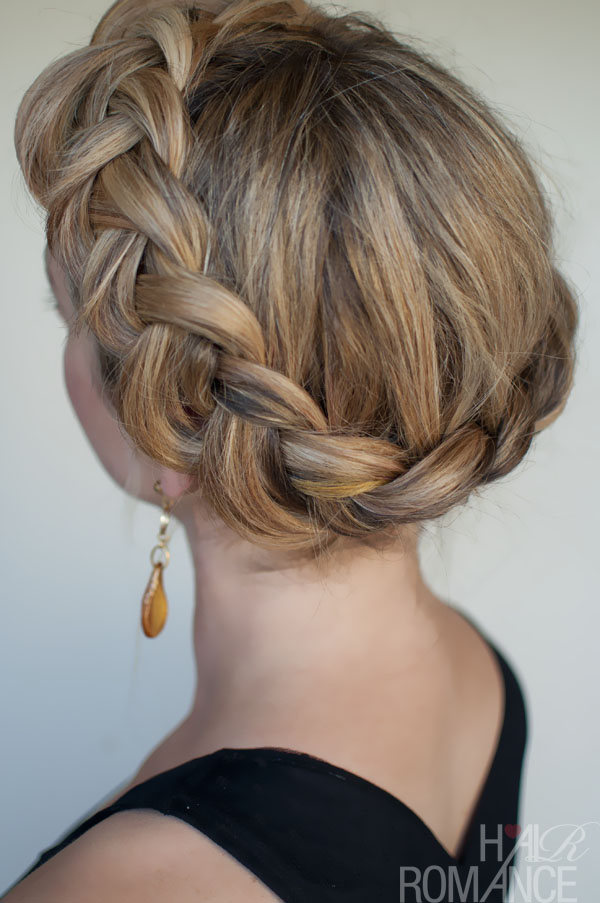 curly fade hairstyle : Dutch Crown Braid Simple Casual Dutch Braid Updo Hairstyles Weekly