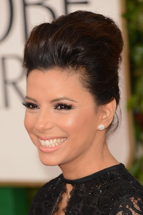 Eva Longoria Golden Globe Awards 2013 Hairstyle- Classic High Pompadour Quiff