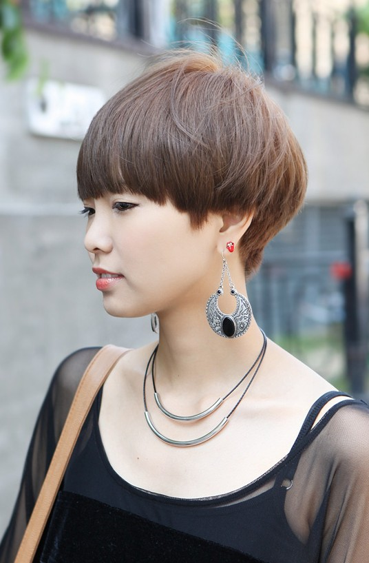Female Boyish Short Hairstyle - Stylish Helmet Haircut for Women