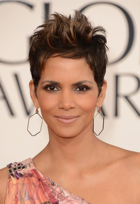 Halle Berry Short Spiked Pixie Cut - 2013 Golden Globe Awards Hairstyles