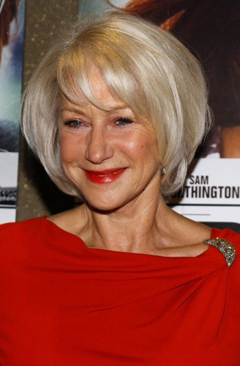 Helen Mirren Shiny Blond Layered Bob for Women Over 60