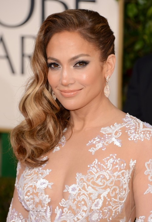 Jennifer Lopez Side Parted Long Hairstyle 2013 - 2013 Red ...