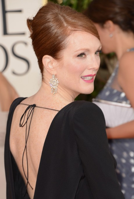 Golden Globe Awards 2013 Hairstyles: Julianne Moore Simple Sleek Beehive Updo