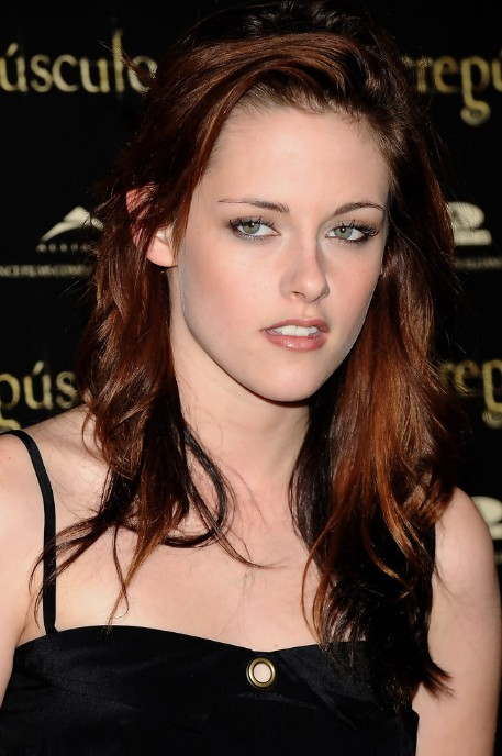 Kristen Stewart Layered Shoulder Length Red Tinted Hairstyle